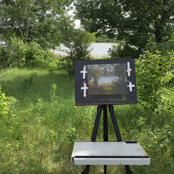 Painting Plein Aire at Standing Bear Lake, Omaha