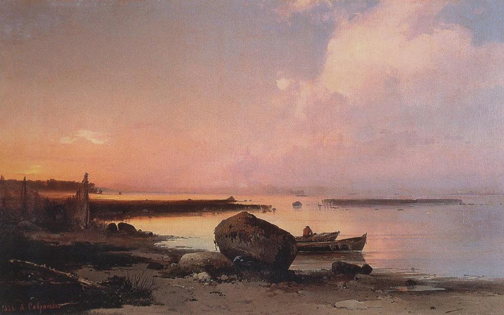 The Sea Shore in the Vicinity Oranienbaum by Alexei Savrasov