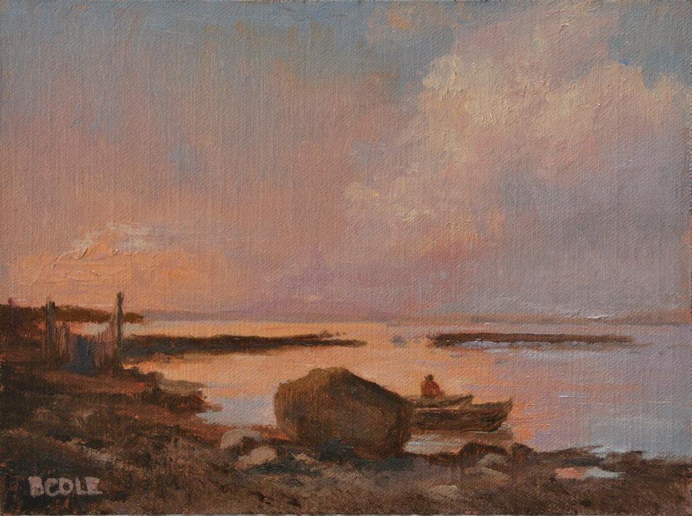 Beth Cole after Alexei Savrasov   The Sea Shore in the Vicinity Oranienbaum   Oil on Linen   6 x 8