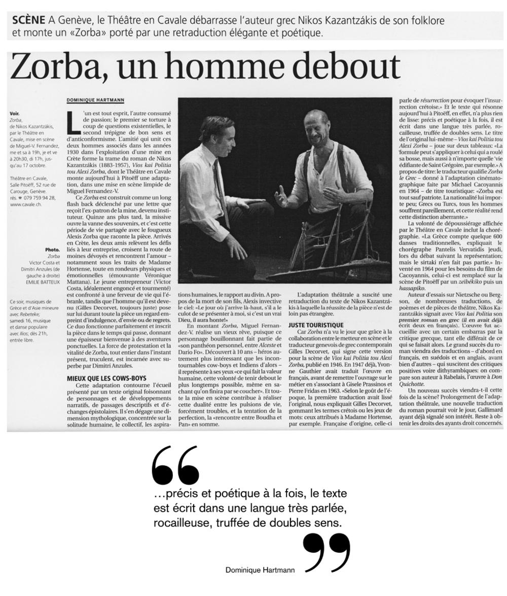 LE COURRIER, SAMEDI, 09 OCTOBRE2010 - par Dominique Hartmann