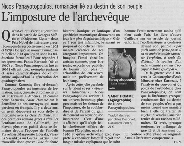 LE MONDE / VENDREDI 9 JUIN 2006 - par Florence Noiville