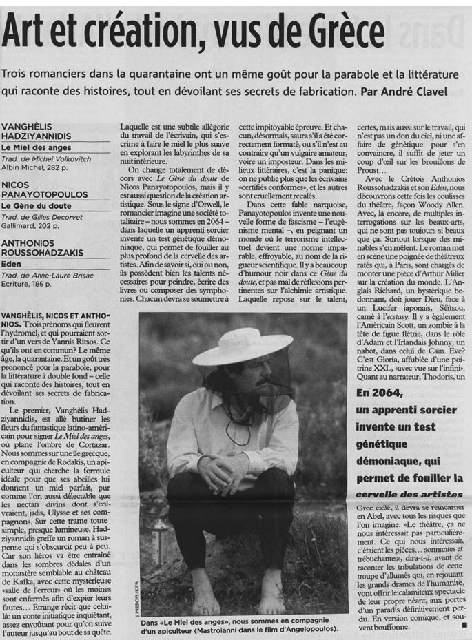 LE TEMPS / SAMEDI 8 MAI 2004 - par André Clavel