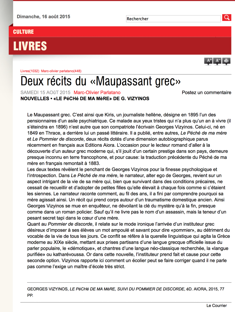 LE COURRIER / DIMANCHE 16 AOÛT 2015 - par Marc-Olivier Parlatano