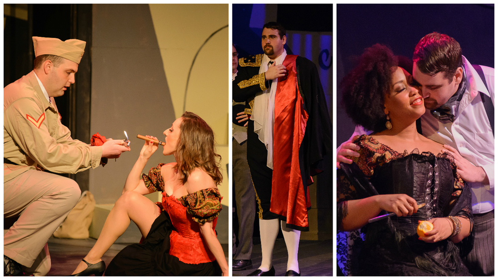 Left: Brent Turner as Don José and Sishel Claverie as Carmen (Ruby Cast). Middle: Jared Guest as Escamillo. Right: Briana Hunter as Carmen (Emerald Cast) and Jared Guest as Escamillo.