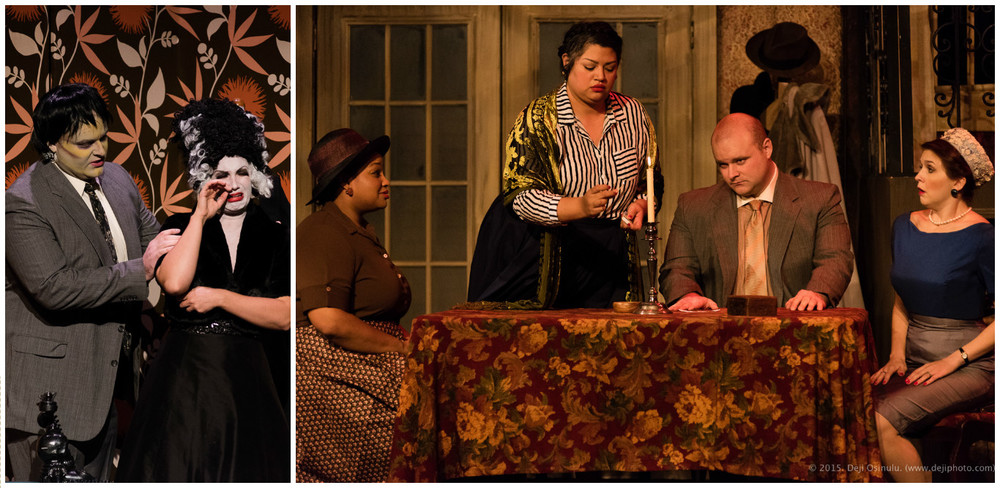 Left: Julia Engel as Lucy, Thomas Richards as Ben  The Telephone . Right: Gwen Alfred as Mrs. Gobineau, Claudia Chapa as Baba, Thomas Richards as Mr. Gobineau, Monica Isomura as Mrs. Nolan  The Medium.