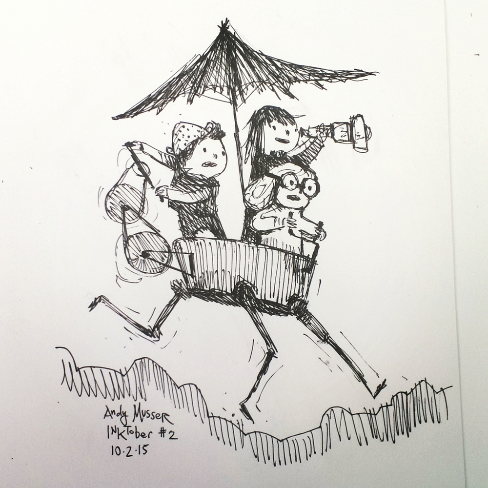 My second inktober drawing, some kids going on an adventure.