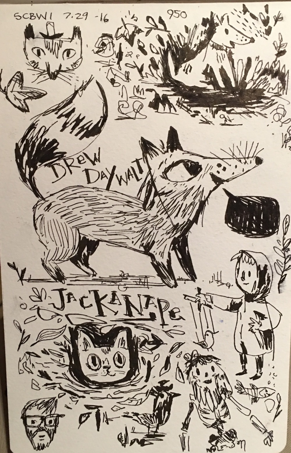 "Drew Daywalt  gave an inspiring keynote about his long journey to picture books, from writing scripts in Hollywood to his first kid's book, "" The Day the Crayon's Quit ."" It was also inspiring to hear him use the word ""jackanape,"" which prompted this sketchbook page of scribbles."