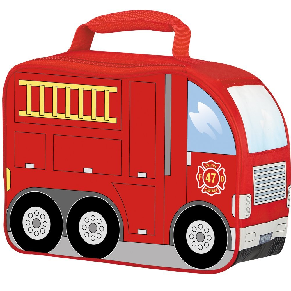 Ian & Timmy chose the Thermos Fire Truck. Do not order the Thermos Basketball lunch bag because the zipper is around the basketball and will not allow the Bentgo to slide in easily. It fits snug in this lunch bag with room for an ice pack.