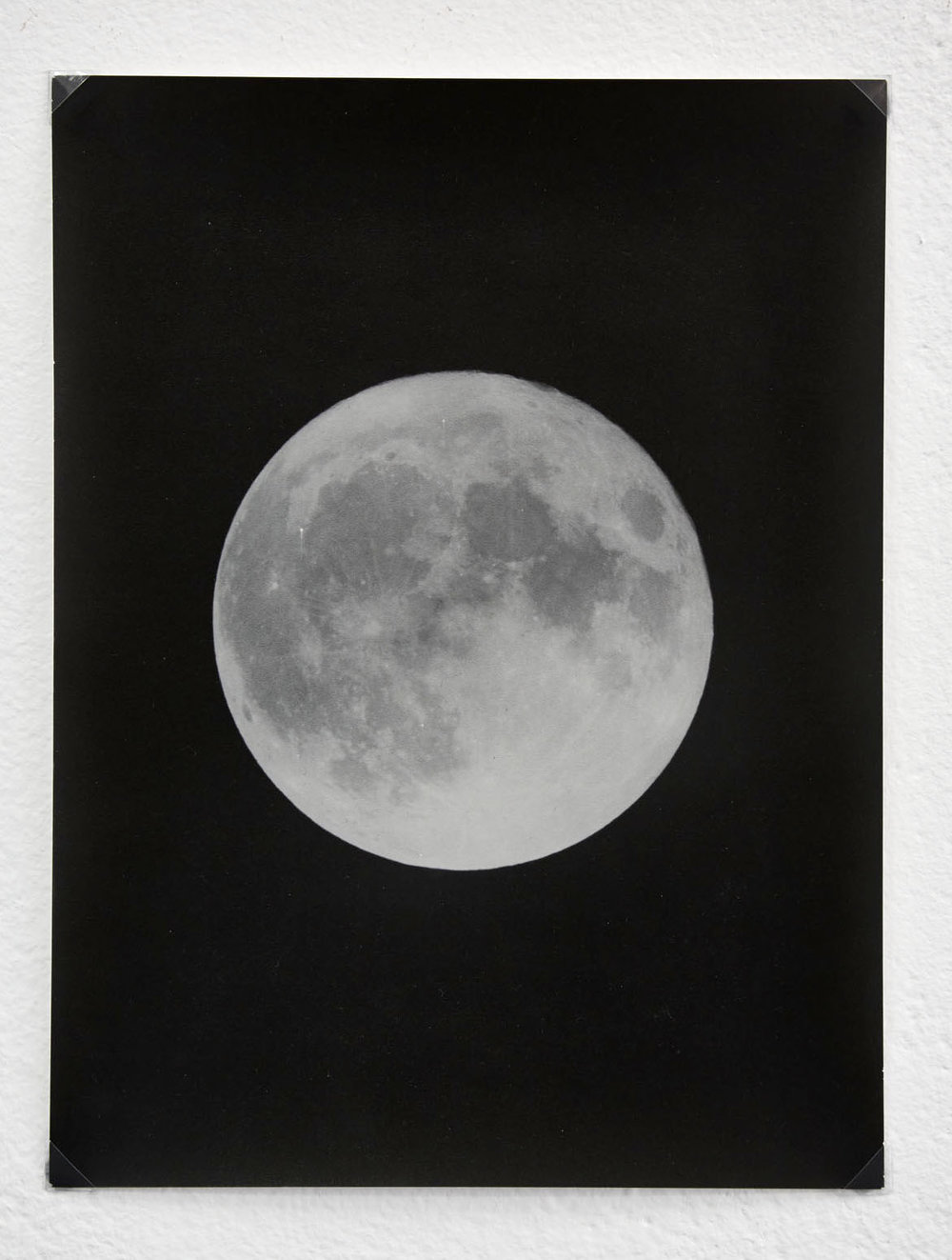 Moon #1 of 9 , 2016  Hand-printed black and white photograph on historic East German paper.