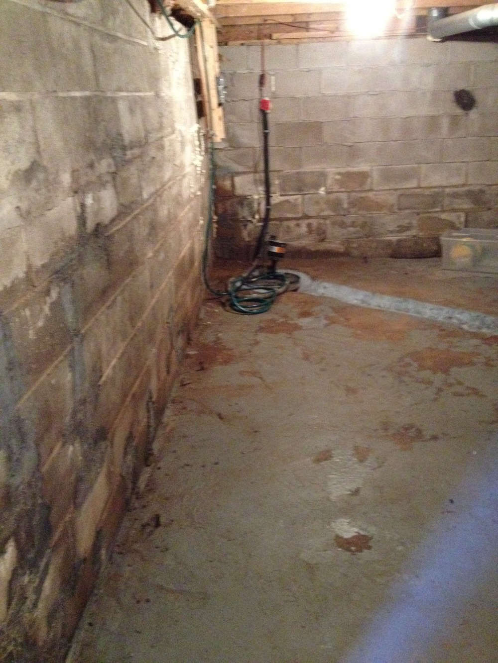 The basement walls were saturated with water prior to the reno.