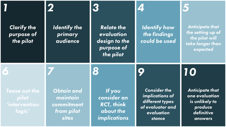 Ten points to consider when planning an evaluation, from Professor Nicholas Mays