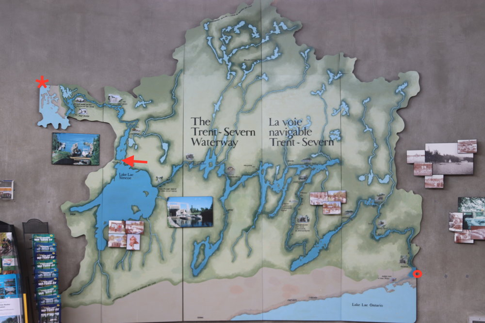 The circle shows where we started, the arrow shows where we are and the star marks Georgian Bay