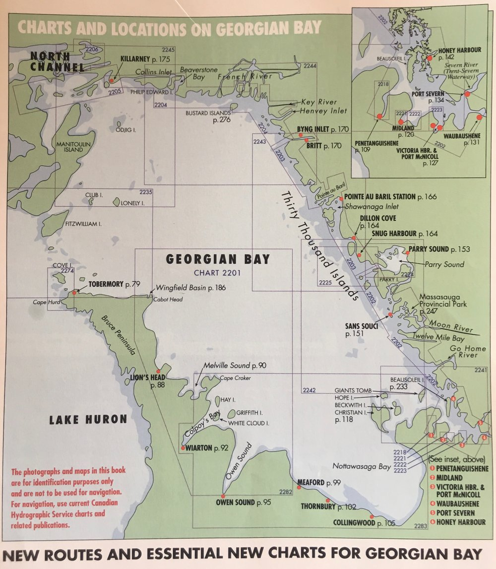 """Charts and Locations on Georgian Bay"" from the  PORTS Crusing Guide for Georgian Bay, The North Channel & Lake Huron , used with the permission of Star Metroland Media"