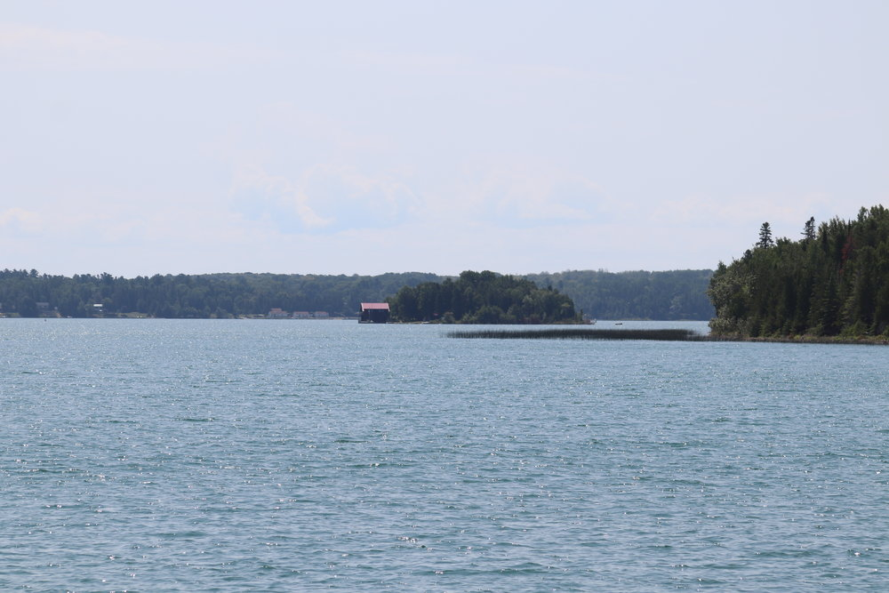 Our low-key reentry into the US, approaching Drummond Island