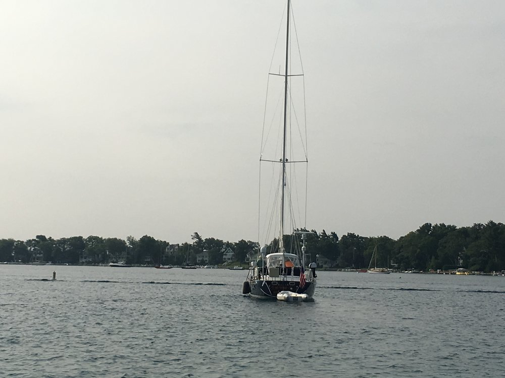 Taking the twins to their next destination - a nice family and a beautiful sailboat (wish I'd gotten a better picture)