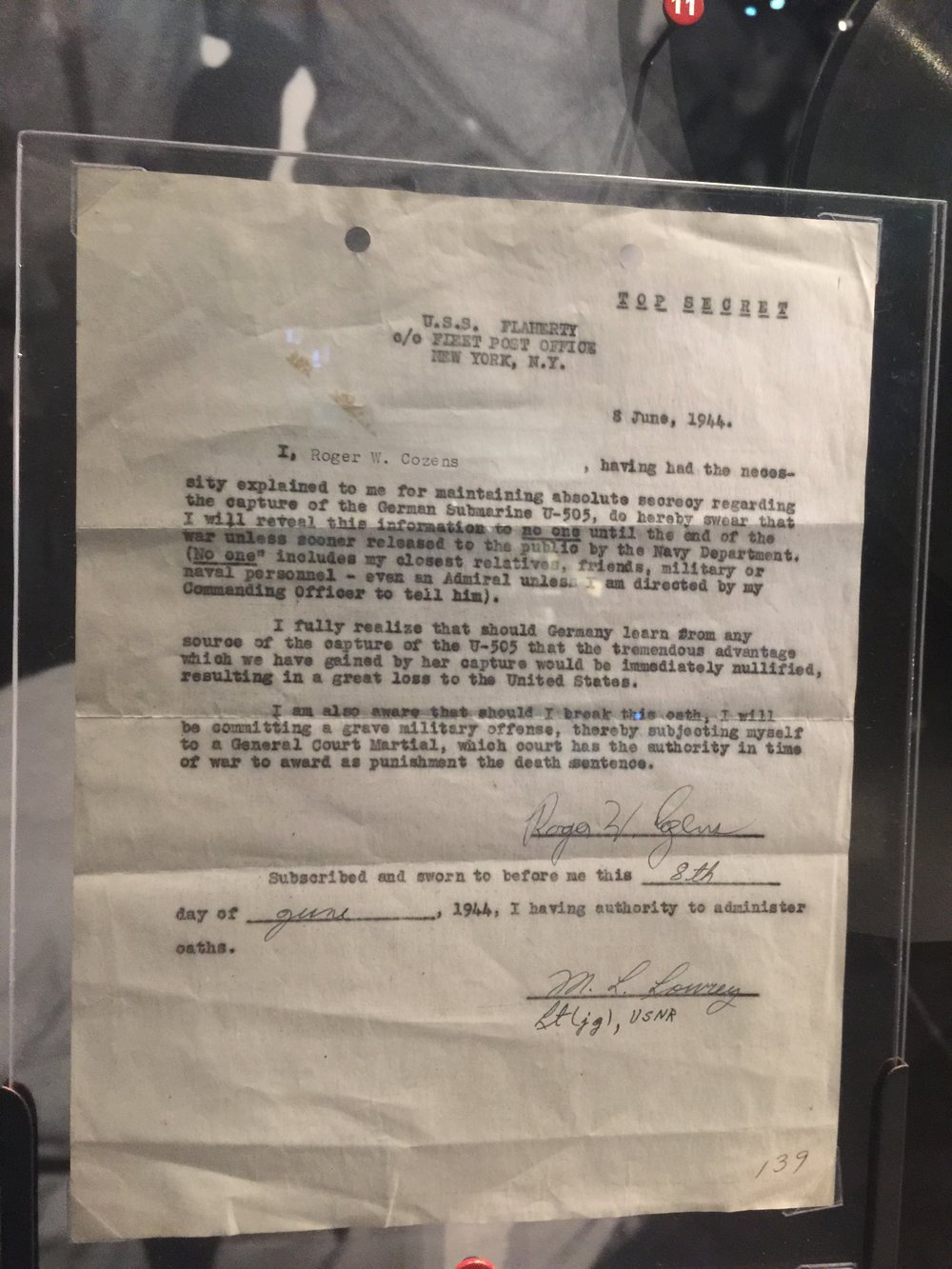 Original letter signed by crew member swearing to secrecy, the breach of which was punishable by death