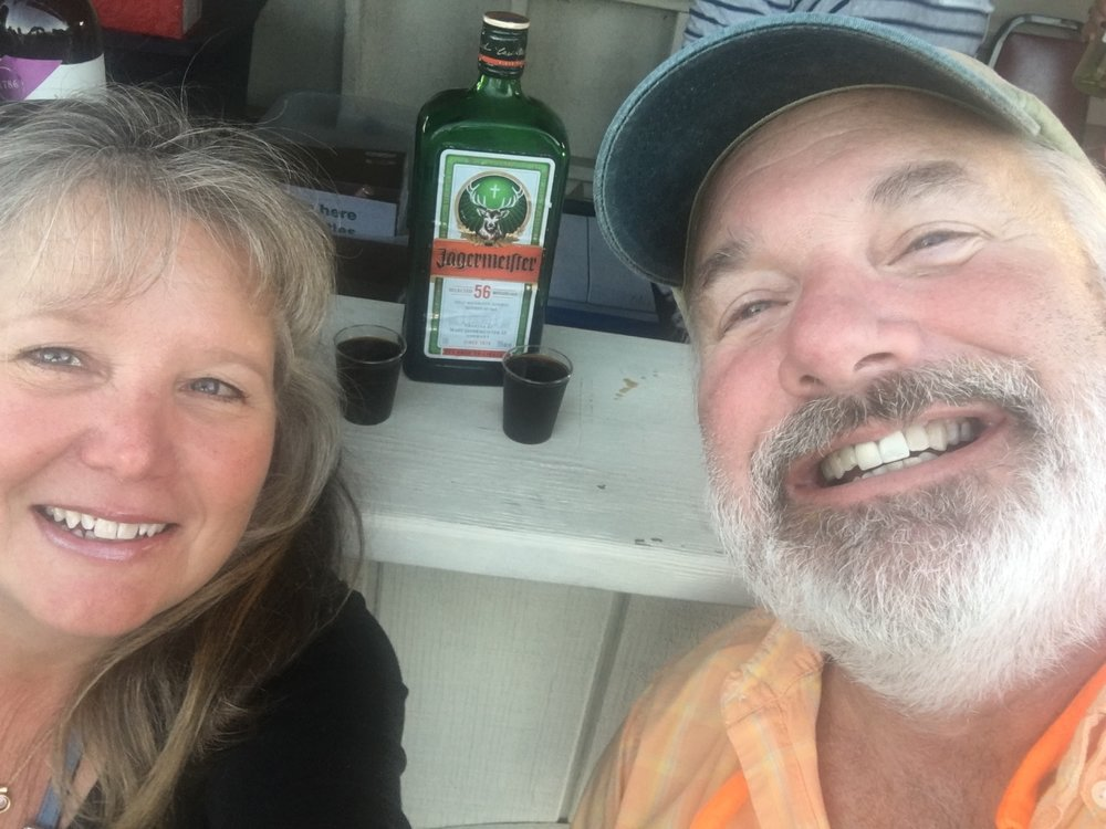 This is us at Oktoberfest in Peoria, taking a rare shot of Jagermeister in honor of our daughter (private family joke - sorry)