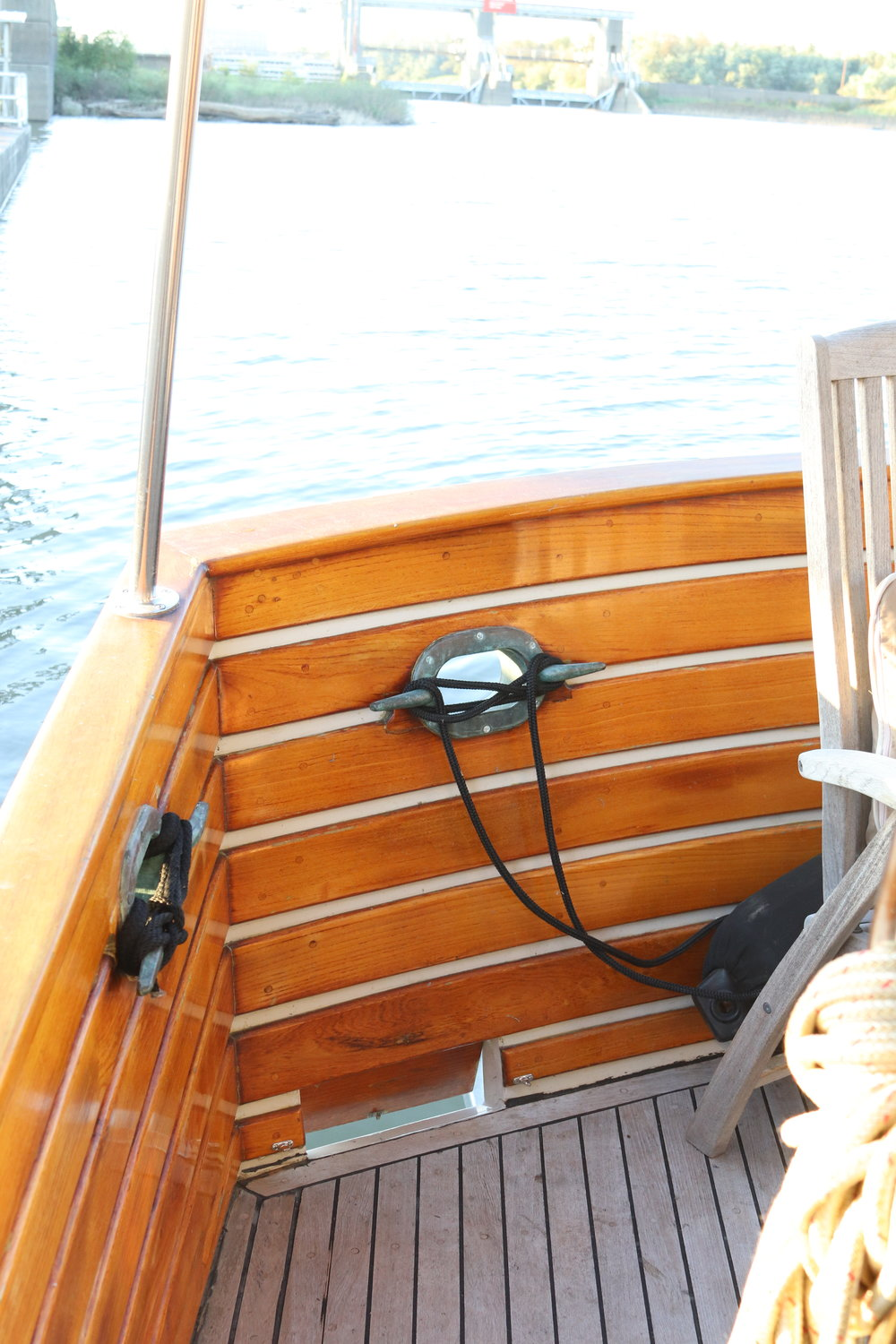 For context, the carp have to leap up and over the deck railing to make it onto the deck - quite a feat. The stern scupper is the the small opening at the bottom (after it had been cleaned).