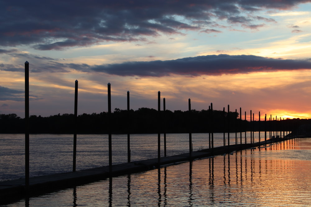 We enjoyed a different version of this sunset every night for a week.  Note the height of the pilings. That's how high the river can rise …