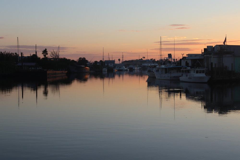 Early morning view toward the Sponge Docks