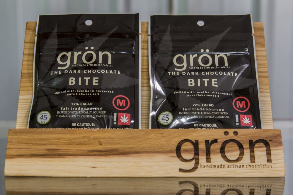 The Grön dark chocolate bites are 75mg THC each. Available to medical patients only.
