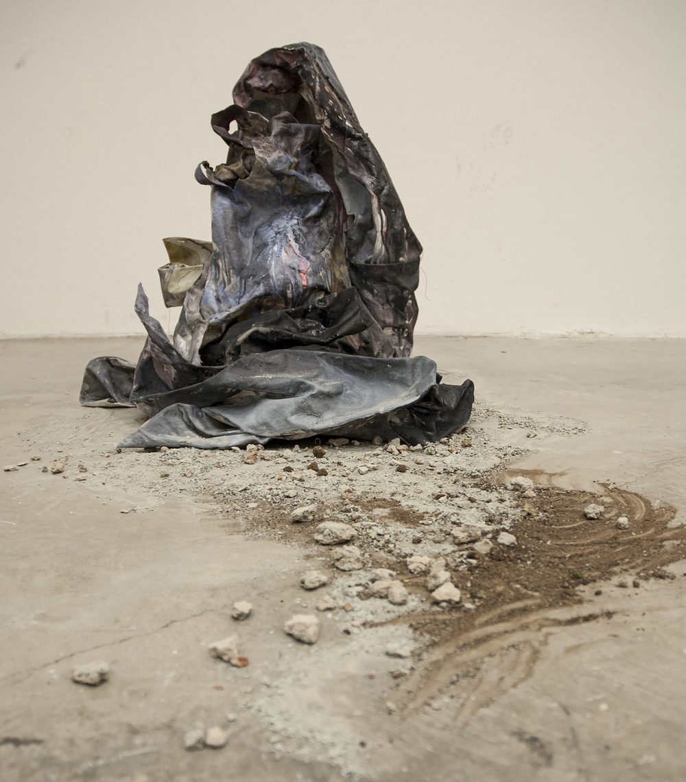 Vestige 2016 Acrylic, metallic pigment, dirt, and charcoal on formed canvas with found dirt (Installation)Dimensions variable