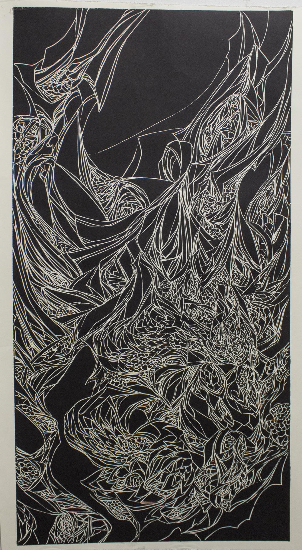 Woodcut 4' x 2' 2016
