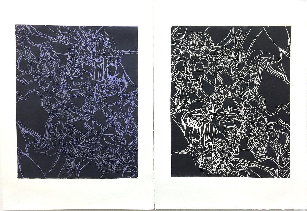 Patterns of Passage Linocut (diptych) 2015