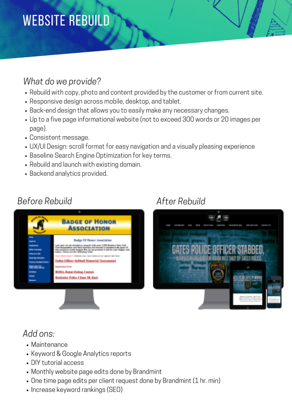 Website rebuild - Selling Points: You will not find a better price for the deliverables. Most agencies charge tens of thousands of dollars for what you receive with Brandmint.