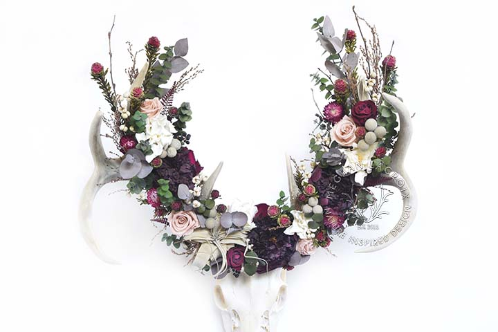Mule Deer with Air Plant and Peonies by MeghanLaCroix.com