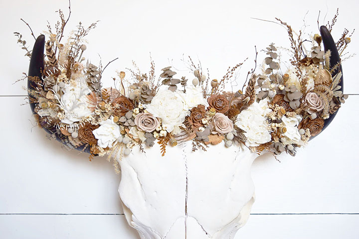 Bison Skull with Flower Crown