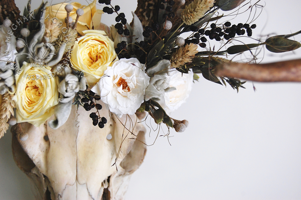 Deer Skull with Flowers