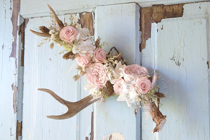 Deer Antler with Flowers
