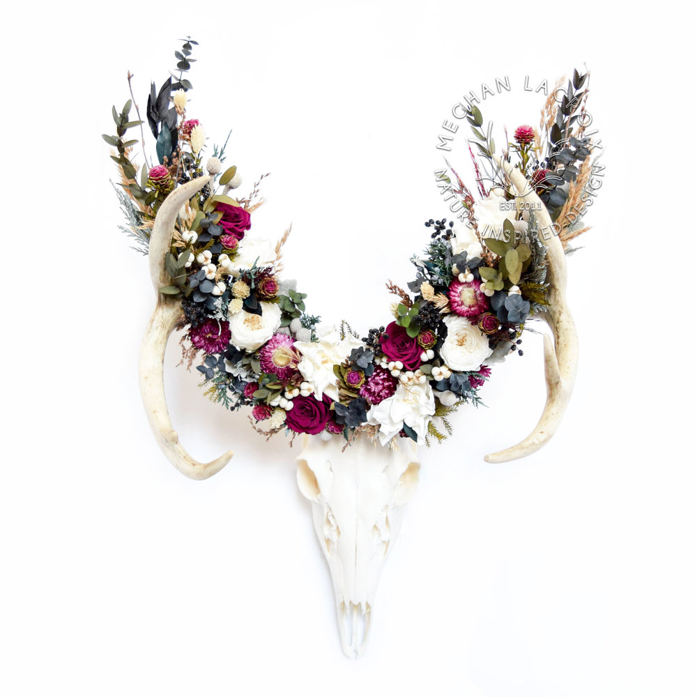 Deer Skull with Floral Crown by MeghanLaCroix.com