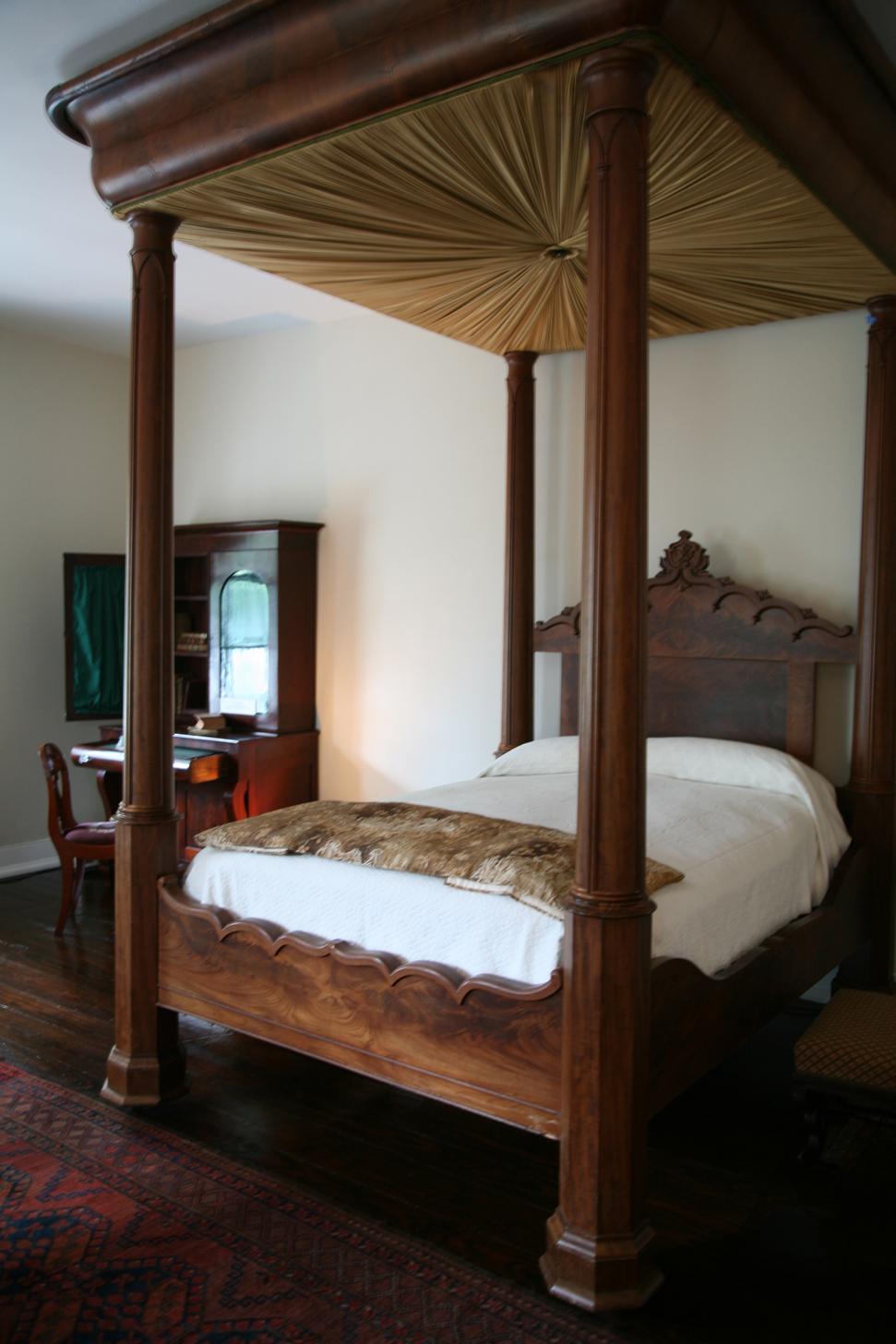 Mahogany and pine tester bed, c. 1845