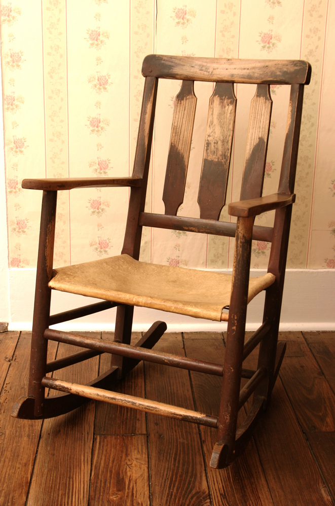 Texas-Made hide seat rocker with vertical back slats, c. 1880