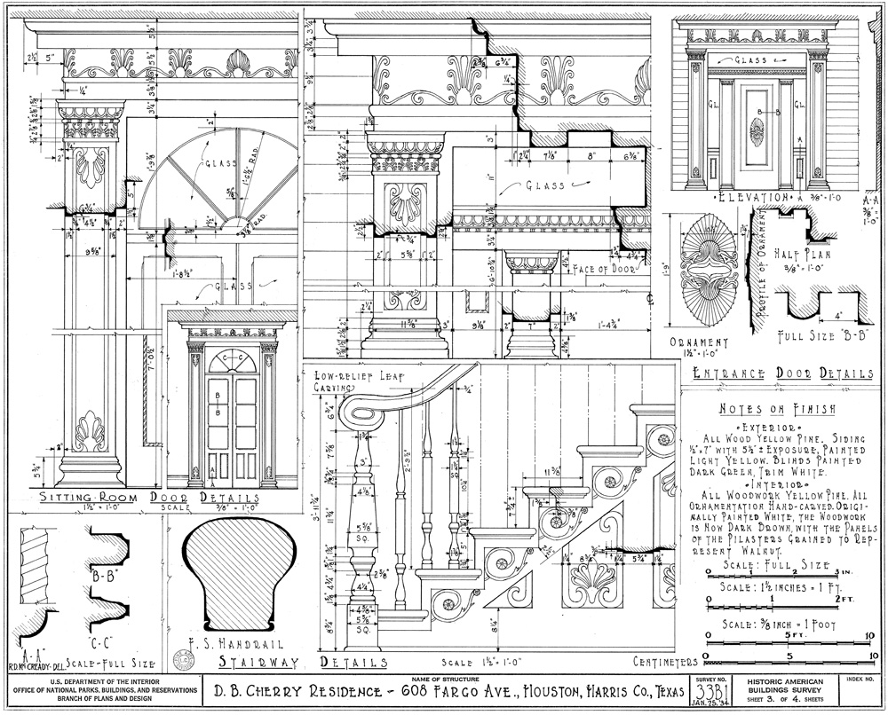 Historic American Buildings Survey drawings of the Nichols-Rice-Cherry-House from 1934.