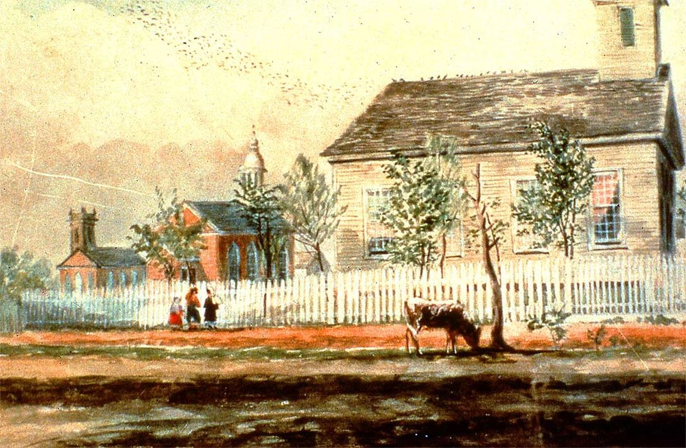 Thomas Flintoff's 1852 painting of the early churches now resides in Houston after traveling many miles across the ocean. In 1984 the Mayor's office received a phone call from Jean Salvado in Australia explaining that she had several watercolor paintings labeled Houston, Texas that had been bought by her grandfather on a trip to London in 1910. When First Presbyterian Church learned of the existence of the painting of the churches, they contacted Mrs. Salvado, purchased the work, and today it hangs in their magnificent house of worship.