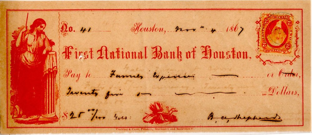 counter Draft, First National Bank of Houston, 1867