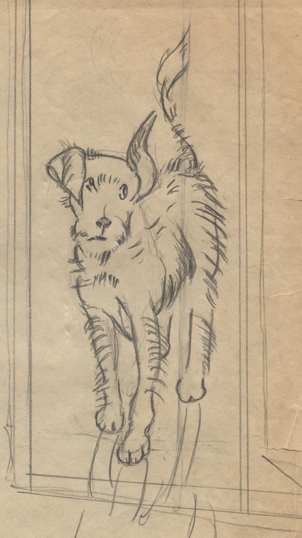 """Original sketch of """"doggie"""" by Grace Spaulding John. Circa 1940. Permanent Collection of The Heritage Society."""