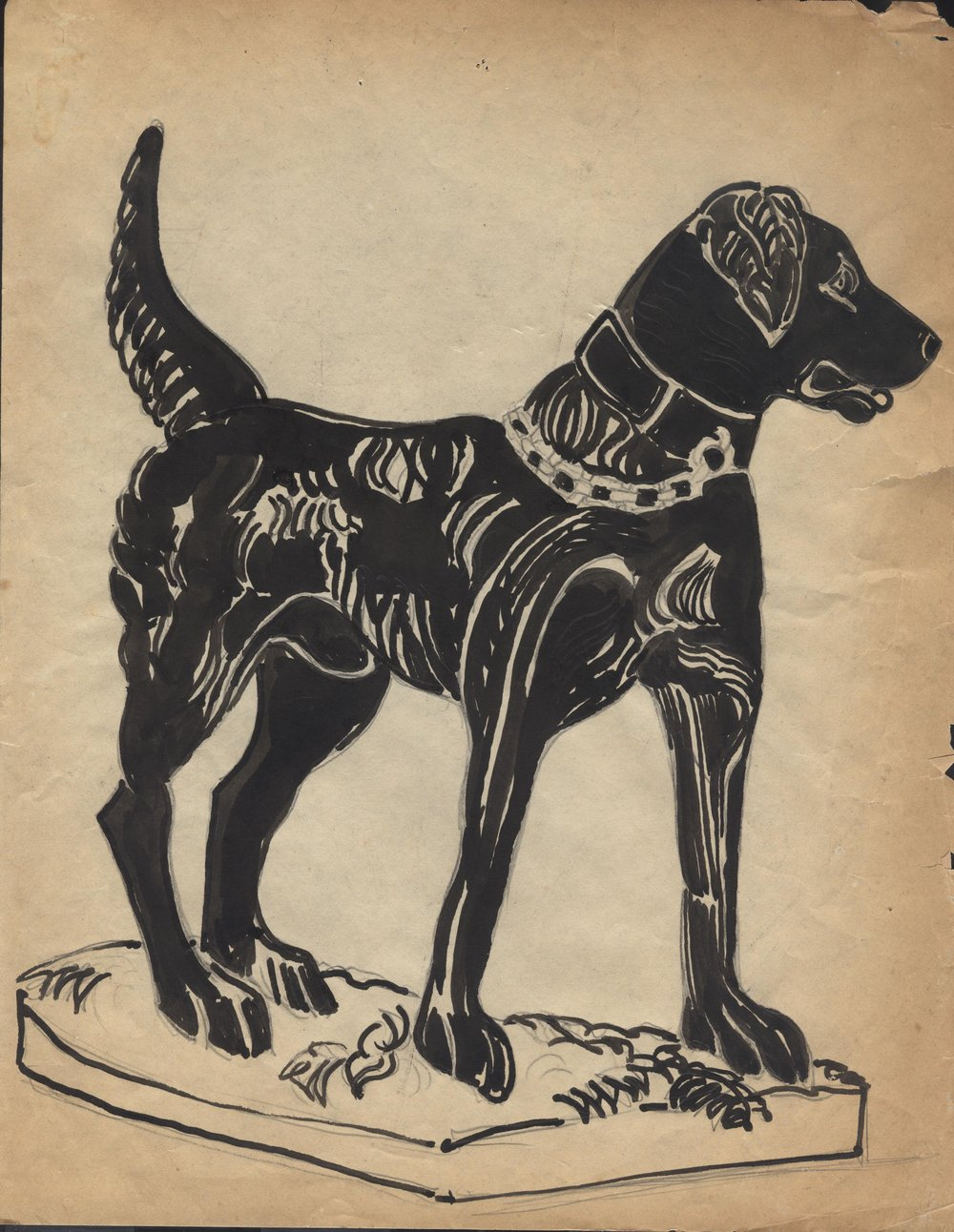 Original sketch of one of the Pillot dogs by Grace Spaulding John. Circa 1940. Permanent Collection of The Heritage Society.