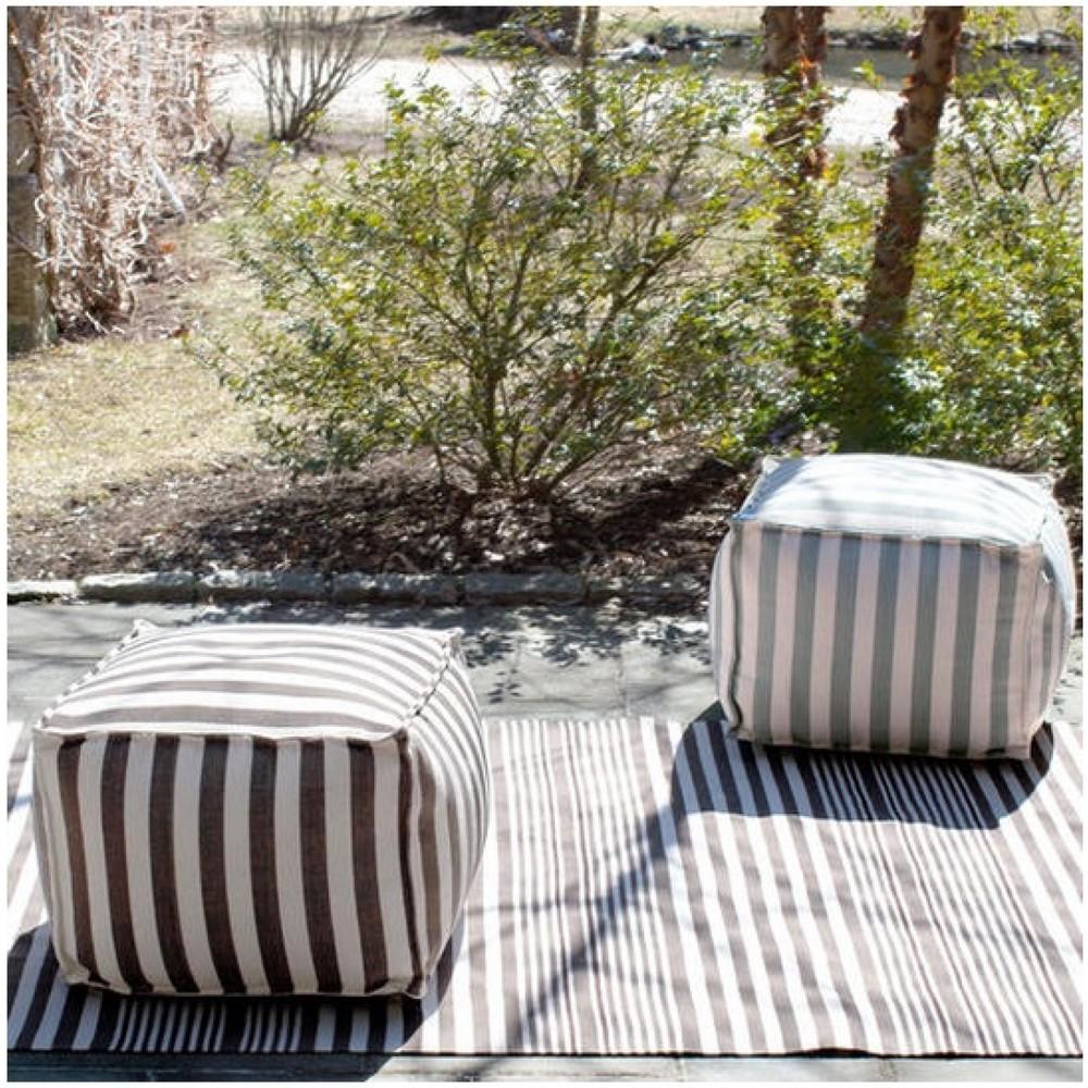 trimaran stripe pouf charcoal - Outdoor Pouf