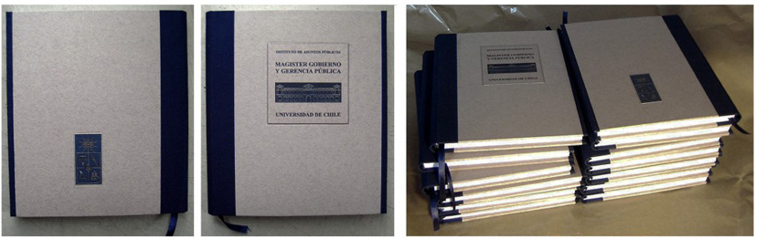 Cuadernos en blanco (impresión de tapas y encuadernación)para alumnos del Magister Gobierno y Gerencia Pública. Instituto de Asuntos Públicos,, Universidad de Chile, Santiago, Chile, 2004. 50 ejemplares.