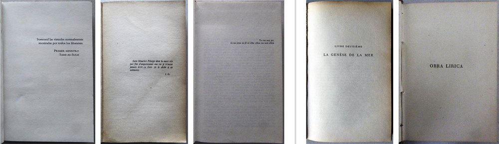A la izquierda tres ejemplos de  epígrafe , y a derecha dos de  portadilla