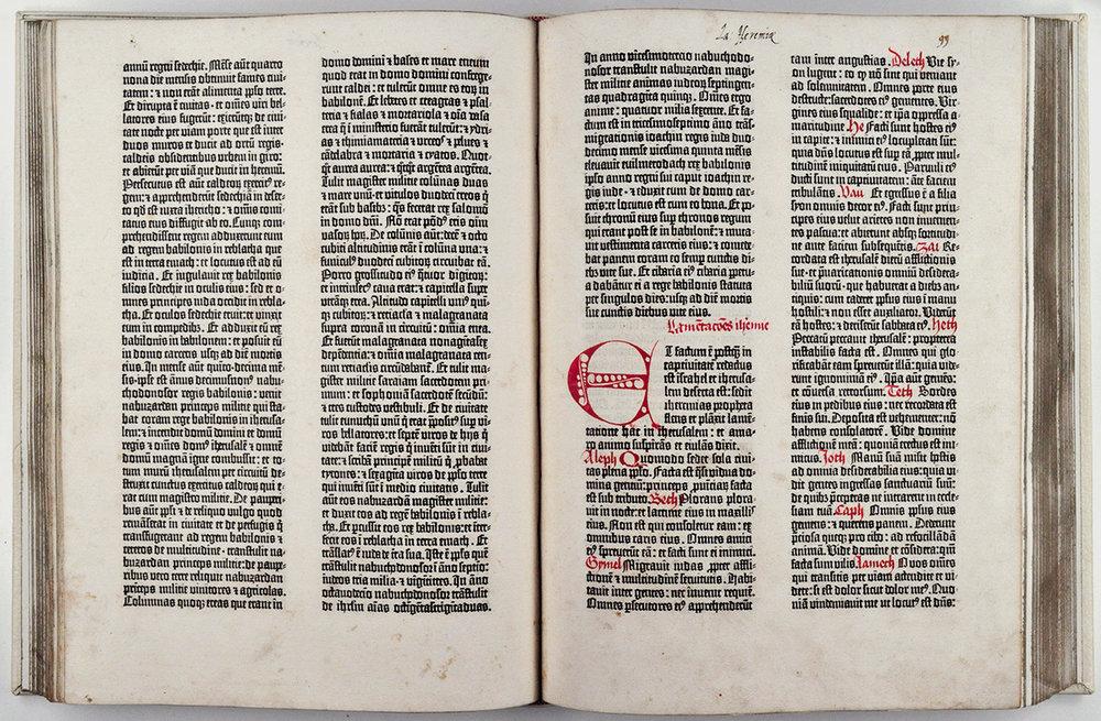 El primer incunable, la Biblia de J. Gutenberg