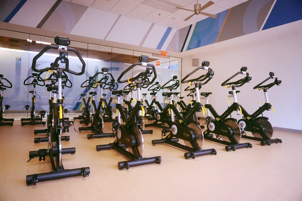 Image displaying stationary bikes found in Cox Communications' employee gym.