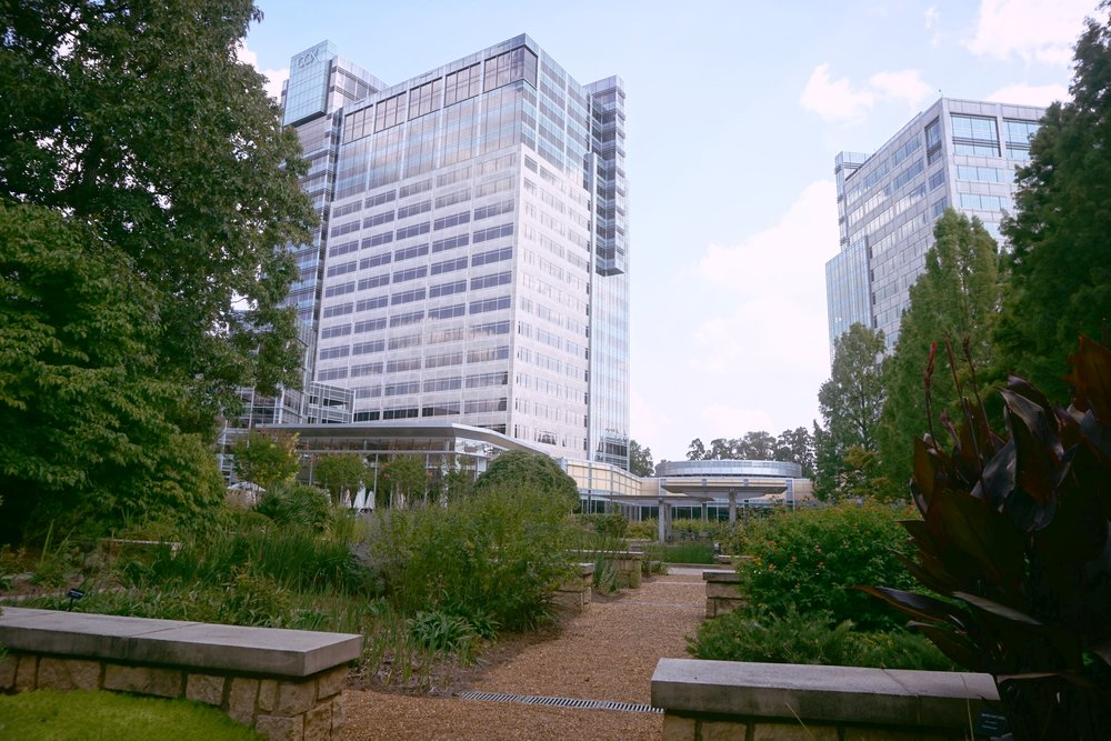 Image of two Cox Communications Campus buildings in the background with foliage in the foreground.