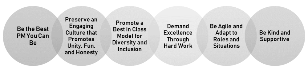 An infographic displaying the 6 LEAD Core Values: be the best PM you can be; preserve an engaging culture that promotes unity, fun, and honesty; promote a best in class model for diversity and inclusion; demand excellence through hard work; be agile and adapt to roles and situations; be kind and supportive.
