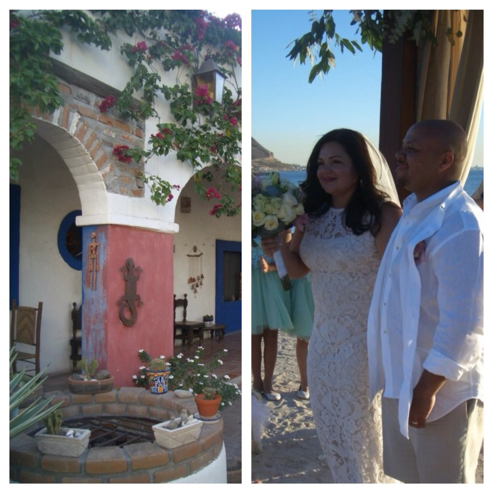 Left:    El Angel Azul   in La Paz... a really nice and homey place to stay and they have an amazing consignment shop where I bought so many things for myself... two dresses, three purses, and a bracelet, all for under $100!  Right:  The happy couple, Alma and Quan aka Qualma.