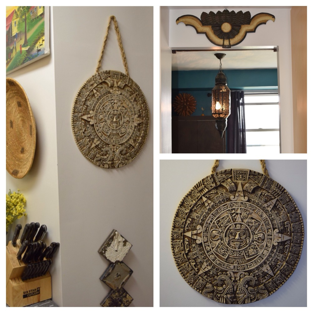 Bottom Right:  Aztec calendar made of fish bone.  Top Right:  I'm not exactly sure what this metal piece is but I liked it to place above the peek-a-boo window in the kitchen.